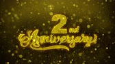 grazie : 2nd Happy Anniversary Golden Greeting Text Appearance Blinking Particles with Golden Fireworks Display 4K for Greeting card, Celebration, Invitation, calendar, Gift, Events, Message, Holiday, Wishes .