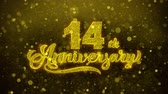 inviti : 14th Happy Anniversary Golden Greeting Text Appearance Blinking Particles with Golden Fireworks Display 4K for Greeting card, Celebration, Invitation, Gift, Events, Message, Holiday, Wishes .
