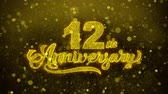 saudações : 12th Happy Anniversary Golden Greeting Text Appearance Blinking Particles with Golden Fireworks Display 4K for Greeting card, Celebration, Invitation, calendar, Events, Message, Holiday, Wishes .