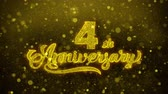 grazie : 4th Happy Anniversary Golden Greeting Text Appearance Blinking Particles with Golden Fireworks Display 4K for Greeting card, Celebration, Invitation, calendar, Gift, Events, Message, Holiday, Wishes .