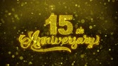 confete : 15th Happy Anniversary Golden Greeting Text Blinking Particles with Golden Fireworks Display 4K for Greeting card, Celebration, Invitation, calendar, Gift, Events, Message, Holiday, Wishes .