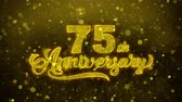 inviti : 75th Happy Anniversary Golden Greeting Text Appearance Blinking Particles with Golden Fireworks Display 4K for Greeting card, Celebration, Invitation, calendar, Gift, Events, Message, Holiday, Wishes . Filmati Stock