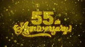 önt : 55th Happy Anniversary Golden Greeting Text Appearance Blinking Particles with Golden Fireworks Display 4K for Greeting card, Celebration, Invitation, calendar, Gift, Events, Message, Holiday, Wishes . Stock mozgókép