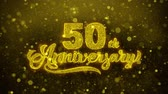 celebrações : 50th Happy Anniversary Golden Greeting Text Appearance Blinking Particles with Golden Fireworks Display 4K for Greeting card, Celebration, Invitation, calendar, Gift, Events, Message, Holiday, Wishes .