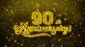 tarjeta de cumpleaños : 90th Happy Anniversary Golden Greeting Text Appearance Blinking Particles with Golden Fireworks Display 4K for Greeting card, Celebration, Invitation, calendar, Gift, Events, Message, Holiday, Wishes .