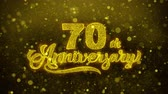 tarjeta de cumpleaños : 70th Happy Anniversary Golden Greeting Text Appearance Blinking Particles with Golden Fireworks Display 4K for Greeting card, Celebration, Invitation, calendar, Gift, Events, Message, Holiday, Wishes .