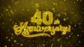 celebrações : 40th Happy Anniversary Golden Greeting Text Appearance Blinking Particles with Golden Fireworks Display 4K for Greeting card, Celebration, Invitation, calendar, Gift, Events, Message, Holiday, Wishes . Stock Footage