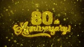 saudações : 80th Happy Anniversary Golden Greeting Text Appearance Blinking Particles with Golden Fireworks Display 4K for Greeting card, Celebration, Invitation, calendar, Gift, Events, Message, Holiday, Wishes .