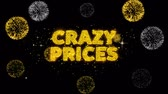 impaginazione : Crazy Prices Text Reveal on Glitter Golden Particles Firework. Sale, Discount Price, Off Deals, Offer promotion offer percent discount ads 4K Loop Animation.