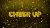 apresentador : Cheer Up Text Golden Glitter Glowing Lights Shine Particles. Sale, Discount Price, Off Deals, Offer promotion offer percent discount ads 4K Loop Animation.