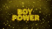 impaginazione : Boy Power Text Golden Glitter Glowing Lights Shine Particles. Sale, Discount Price, Off Deals, Offer promotion offer percent discount ads 4K Loop Animation. Filmati Stock