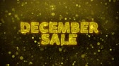 décembre : December Sale Text Golden Glitter Glowing Lights Shine Particles. Sale, Discount Price, Off Deals, Offer promotion offer percent discount ads 4K Loop Animation.