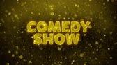 mikrofon : Comedy Show Text Golden Glitter Glowing Lights Shine Particles. Sale, Discount Price, Off Deals, Offer promotion offer percent discount ads 4K Loop Animation.