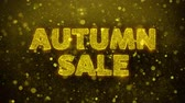 ringraziamento : Autumn Sale Text Golden Glitter Glowing Lights Shine Particles. Sale, Discount Price, Off Deals, Offer promotion offer percent discount ads 4K Loop Animation.