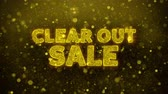 kısıtlı : Clear Out Sale Text Golden Glitter Glowing Lights Shine Particles. Sale, Discount Price, Off Deals, Offer promotion offer percent discount ads 4K Loop Animation.