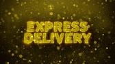 consignation : EXPRESS DELIVERY Text Golden Glitter Glowing Lights Shine Particles. Sale, Discount Price, Off Deals, Offer promotion offer percent discount ads 4K Loop Animation.