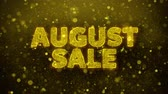 szafran : August Sale Text Golden Glitter Glowing Lights Shine Particles. Sale, Discount Price, Off Deals, Offer promotion offer percent discount ads 4K Loop Animation.