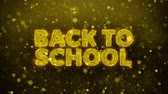 typografia : Back To School Text Golden Glitter Glowing Lights Shine Particles. Sale, Discount Price, Off Deals, Offer promotion offer percent discount ads 4K Loop Animation. Wideo