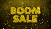 comique : Boom Sale Text Golden Glitter Glowing Lights Shine Particles. Sale, Discount Price, Off Deals, Offer promotion offer percent discount ads 4K Loop Animation. Vidéos Libres De Droits