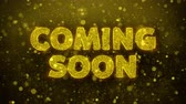 novo : Coming Soon Text Golden Glitter Glowing Lights Shine Particles. Sale, Discount Price, Off Deals, Offer promotion offer percent discount ads 4K Loop Animation.