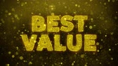 impaginazione : Best Value Text Golden Glitter Glowing Lights Shine Particles. Sale, Discount Price, Off Deals, Offer promotion offer percent discount ads 4K Loop Animation.