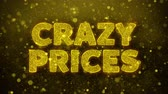 impaginazione : Crazy Prices Text Golden Glitter Glowing Lights Shine Particles. Sale, Discount Price, Off Deals, Offer promotion offer percent discount ads 4K Loop Animation.
