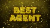 önt : Best Agent Text Golden Glitter Glowing Lights Shine Particles. Sale, Discount Price, Off Deals, Offer promotion offer percent discount ads 4K Loop Animation.