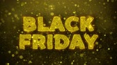 impaginazione : Black Friday Text Golden Glitter Glowing Lights Shine Particles. Sale, Discount Price, Off Deals, Offer promotion offer percent discount ads 4K Loop Animation.