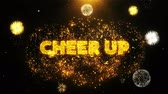 apresentador : Cheer Up Text on Firework Display Explosion Particles. Sale, Discount Price, Off Deals, Offer promotion offer percent discount ads 4K Loop Animation.