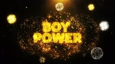 concettuale : Boy Power Text on Firework Display Explosion Particles. Sale, Discount Price, Off Deals, Offer promotion offer percent discount ads 4K Loop Animation.