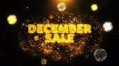 décembre : December Sale Text on Firework Display Explosion Particles. Sale, Discount Price, Off Deals, Offer promotion offer percent discount ads 4K Loop Animation.