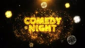 mikrofon : Comedy Night Text on Firework Display Explosion Particles. Sale, Discount Price, Off Deals, Offer promotion offer percent discount ads 4K Loop Animation. Wideo