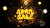 impaginazione : April Sale Text on Firework Display Explosion Particles. Sale, Discount Price, Off Deals, Offer promotion offer percent discount ads 4K Loop Animation.