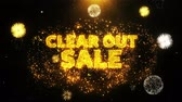 crachá : Clear Out Sale Text on Firework Display Explosion Particles. Sale, Discount Price, Off Deals, Offer promotion offer percent discount ads 4K Loop Animation.