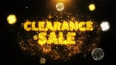 novo : Clearance Sale Text on Firework Display Explosion Particles. Sale, Discount Price, Off Deals, Offer promotion offer percent discount ads 4K Loop Animation. Stock Footage
