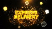 kurýr : EXPRESS DELIVERY Text on Firework Display Explosion Particles. Sale, Discount Price, Off Deals, Offer promotion offer percent discount ads 4K Loop Animation.