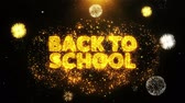 flyer design : Back To School Text on Firework Display Explosion Particles. Sale, Discount Price, Off Deals, Offer promotion offer percent discount ads 4K Loop Animation.