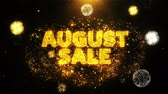 szafran : August Sale Text on Firework Display Explosion Particles. Sale, Discount Price, Off Deals, Offer promotion offer percent discount ads 4K Loop Animation.