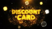 impaginazione : Discount Card Text on Firework Display Explosion Particles. Sale, Discount Price, Off Deals, Offer promotion offer percent discount ads 4K Loop Animation. Filmati Stock
