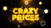 brochura : Crazy Prices Text on Firework Display Explosion Particles. Sale, Discount Price, Off Deals, Offer promotion offer percent discount ads 4K Loop Animation.