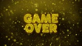 subasta : Game Over Text Golden Glitter Glowing Lights Shine Particles. Sale, Discount Price, Off Deals, Offer promotion offer percent discount ads 4K Loop Animation. Archivo de Video