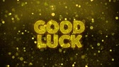 rčení : Good Luck Text Golden Glitter Glowing Lights Shine Particles. Sale, Discount Price, Off Deals, Offer promotion offer percent discount ads 4K Loop Animation.