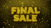 brožura : Final Sale Text Golden Glitter Glowing Lights Shine Particles. Sale, Discount Price, Off Deals, Offer promotion offer percent discount ads 4K Loop Animation.