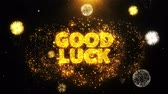 abschied : Good Luck Text on Firework Display Explosion Particles. Sale, Discount Price, Off Deals, Offer promotion offer percent discount ads 4K Loop Animation. Stock Footage