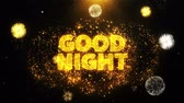 夜遊び : Good Night Text on Firework Display Explosion Particles. Sale, Discount Price, Off Deals, Offer promotion offer percent discount ads 4K Loop Animation.