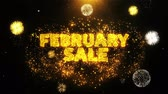 impaginazione : February Sale Text on Firework Display Explosion Particles. Sale, Discount Price, Off Deals, Offer promotion offer percent discount ads 4K Loop Animation.