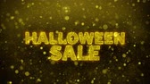 gutschein : Halloween-Verkaufs-Text-goldener Funkeln-glühende Licht-Glanz-Partikel. Sale, Discount Price, Off Deals, Angebot Promotion Angebot Prozent Rabatt Anzeigen 4K Loop Animation.