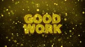 novo : Good Work Text Golden Glitter Glowing Lights Shine Particles. Sale, Discount Price, Off Deals, Offer promotion offer percent discount ads 4K Loop Animation.
