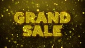 novo : Grand Sale Text Golden Glitter Glowing Lights Shine Particles. Sale, Discount Price, Off Deals, Offer promotion offer percent discount ads 4K Loop Animation.