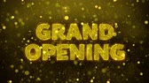gran apertura : Grand Opening Text Golden Glitter Glowing Lights Shine Particles. Sale, Discount Price, Off Deals, Offer promotion offer percent discount ads 4K Loop Animation. Archivo de Video